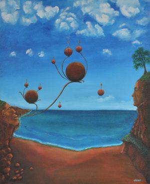 Création aérienne sur la plage